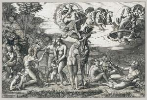 Marcantonio Raimondin kaiverrus Rafaelin maalauksesta 1510–20